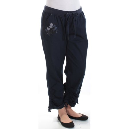 INC Womens Navy Embellished Embroidered Drawstring Cargo Pants  Size: -