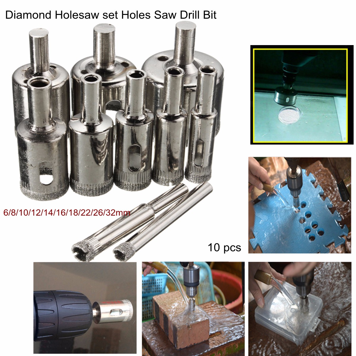"10Pcs 50mm/2"" Diamond Holesaw Drill Bit Hole Saw Set Hole Saw Cutter For Tile Ceramic Glass Marble, Silver"
