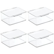 mDesign Small Plastic Stacking Organizer Toy Box Bin with Lid, 4 Pack - Clear