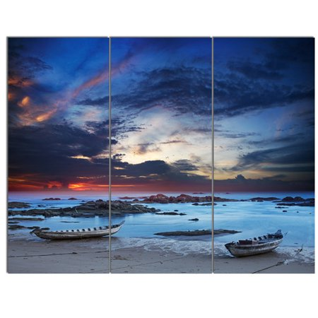 Design Art Colorful Traditional Asian Boats' 3 Piece Photographic Print on Metal Set