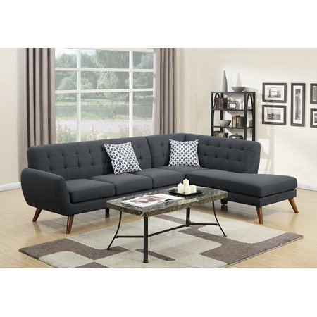 2Pcs Modern Ash Black Polyfiber Linen-Like Fabric Sectional Sofa Set with Accent Tufting on the Back