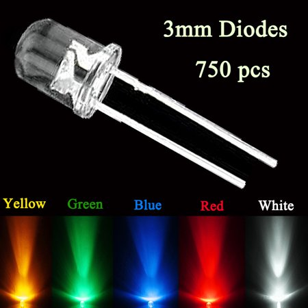 750X 3mm Clear Round LED Assorted Light Emitting Diodes Diffused Yellow Red Blue Green White Assortment Diodes (Assorted Leds)