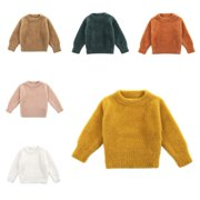 Baby Boy Girl Solid Sweater Warm Long Sleeve Sweatshirt Tops Blouse Clothes