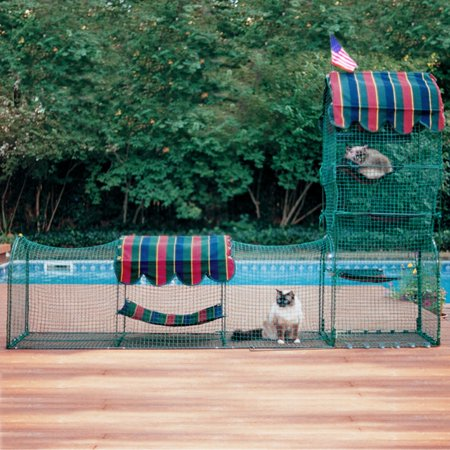 Kittywalk, Town and Country Collection, Outdoor Cat Enclosure, Green, 96-in Carnival Cat Enclosure