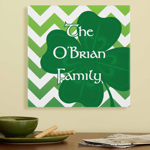 "Personalized Modern Shamrock Canvas, 11"" x 11"""