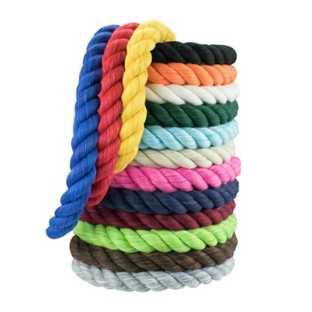 WCP Cotton Rope Soft 3 Twisted Strands 1/2 Inch Diameter in Various Colors and Sizes USA -
