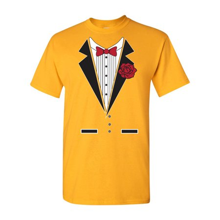 Tuxedo Rose Adult DT T-Shirt Tee - Robe City