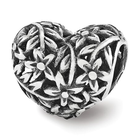 Sterling Silver Reflections Filigree Flower Heart Bead