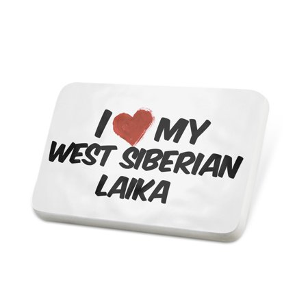 Porcelein Pin I Love my West Siberian Laika Dog from Russia Lapel Badge – NEONBLOND