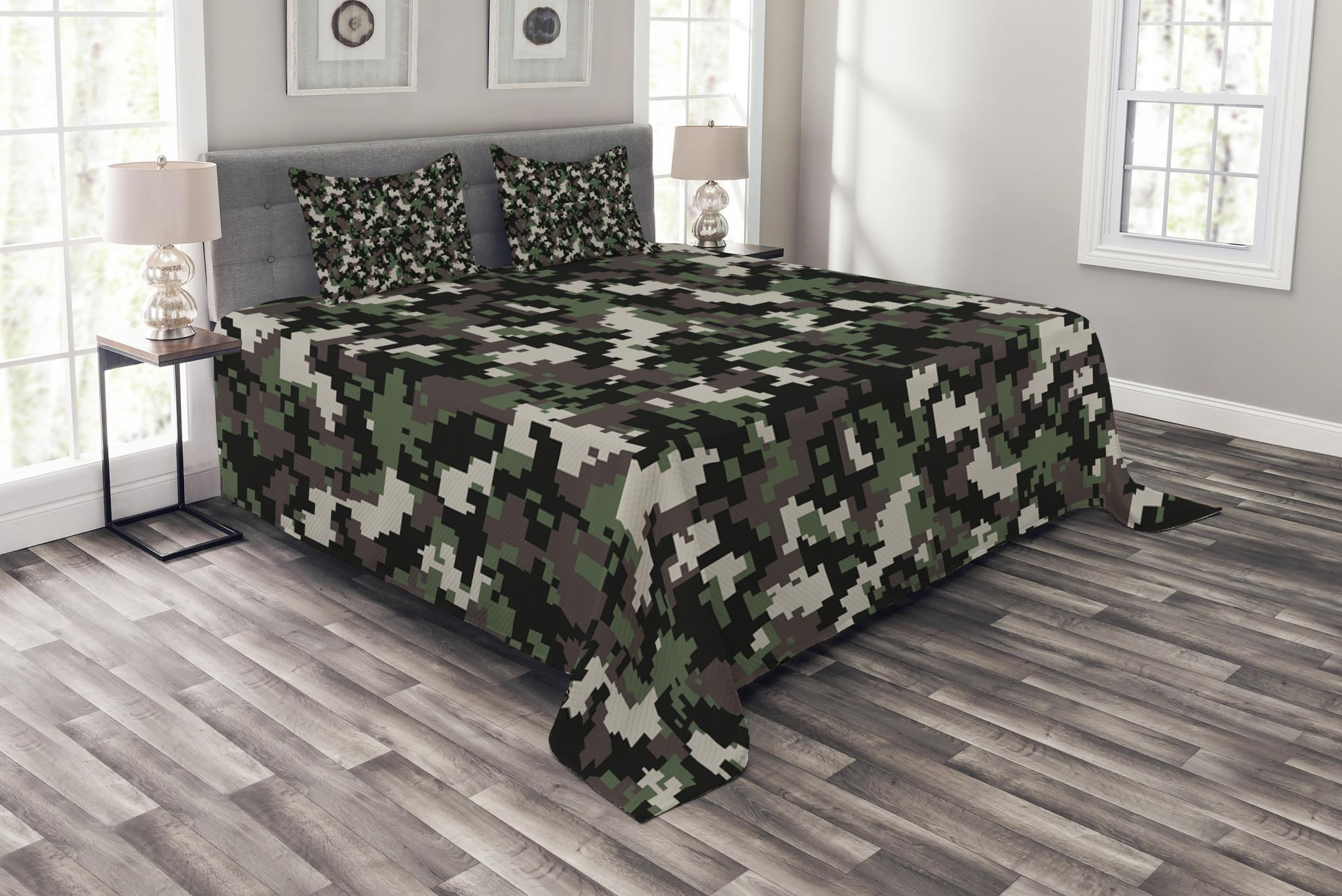 Grey, Twin NTBED Camouflage Bedspread Quilt Sets Reversible Patchwork Coverlet 3 Piece Lightweight Bedding Set with 2 Pillow Shams for Boys Teens