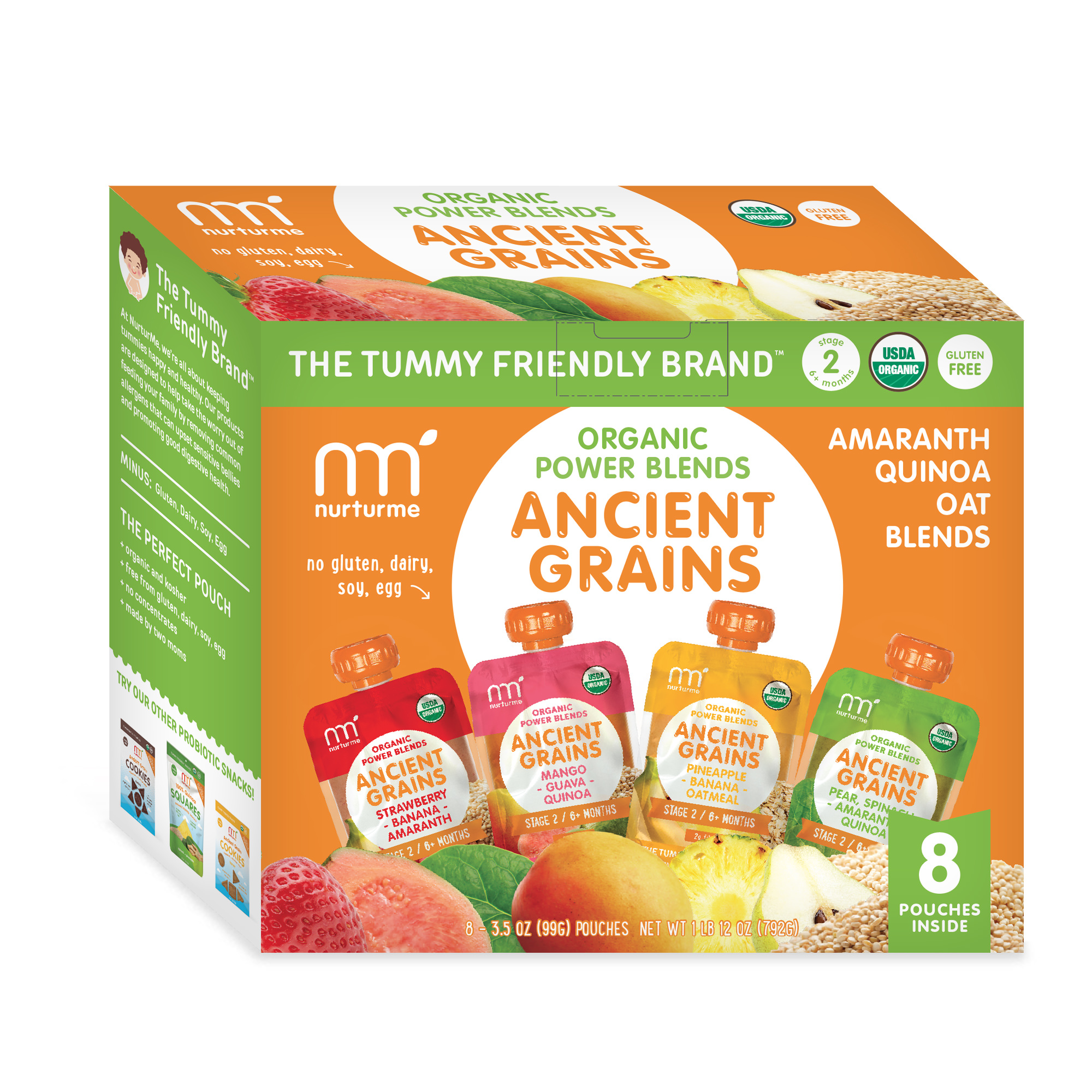 NurturMe Ancient Grain Stage 2 Power Blend Organic Baby Food Variety Pack 3.5 Ounce Pouch - 8 Pack