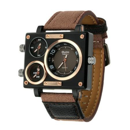 Montre-bracelet à quartz à bande de toile de luxe pour homme d'affaires OULM - image 2 de 7