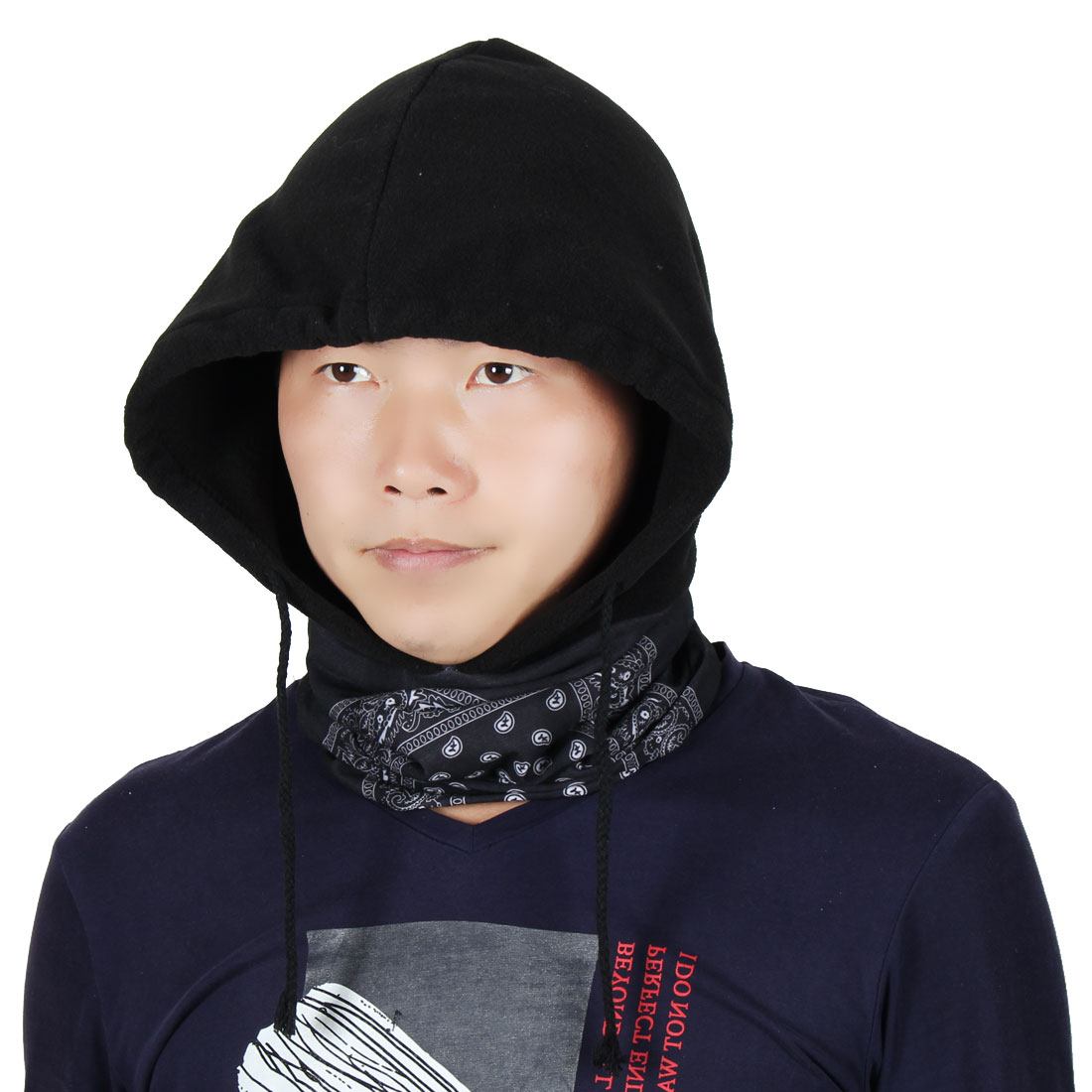 Fleece Fish Pattern Face Mask Riding Double Layer Neck Protector Balaclava Black by Unique-Bargains