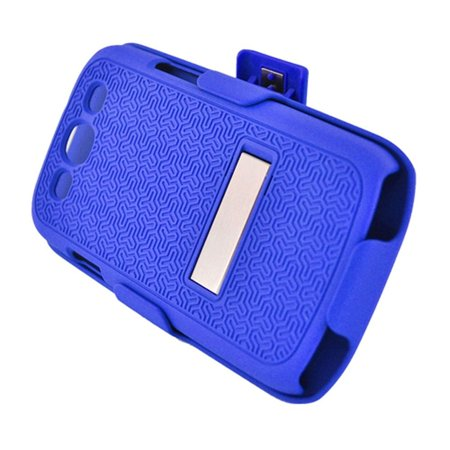 Samsung Galaxy S3 Case, Samsung Galaxy S3 Phone Case, by Insten Stand Rubberized Hard Snap-in Case Cover Holster For Samsung Galaxy S3 GT-i9300, Blue - Samsung S3 Case