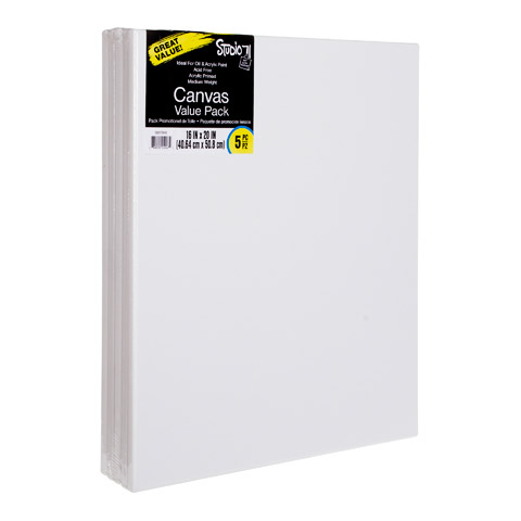Bulk Stretched Canvas Value Pack: 16x20 White Art Canvases, 5 pack