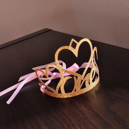 Pink Crowns (1st Birthday Crown. Handcrafted in 1-3 Business Days. Pink and Gold First Birthday Party Decoration. One)