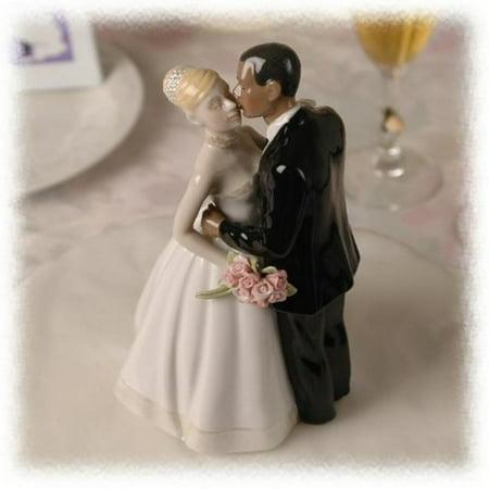 Porcelain Interracial Bi-racial Ethnic Wedding Cake Topper Blond Caucasian White Bride African American Black Groom