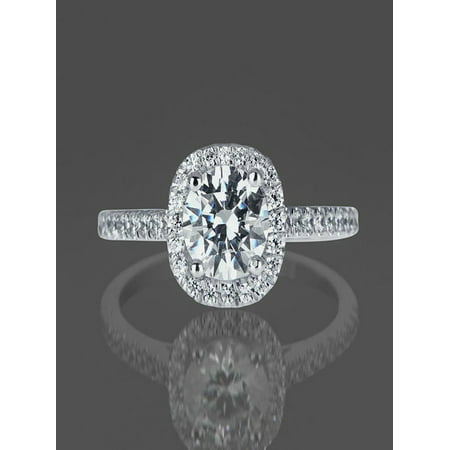 Limited Time Sale 1 Carat Diamond Engagement Ring in 10k White Gold on Sale Under