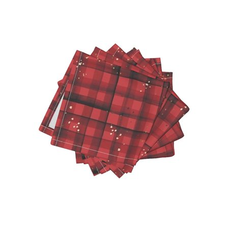 Cocktail Napkins Red Plaid Black And Red Plaid Plaid Gingham Watercolor Set of (Gingham Cocktail)