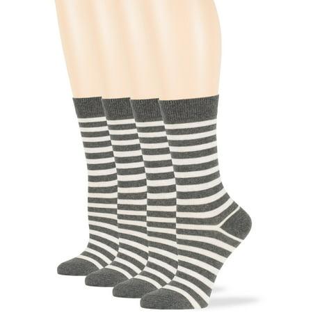 Womens Cotton Striped Crew Socks, Dark Grey, Medium 9-11, 4 Pack