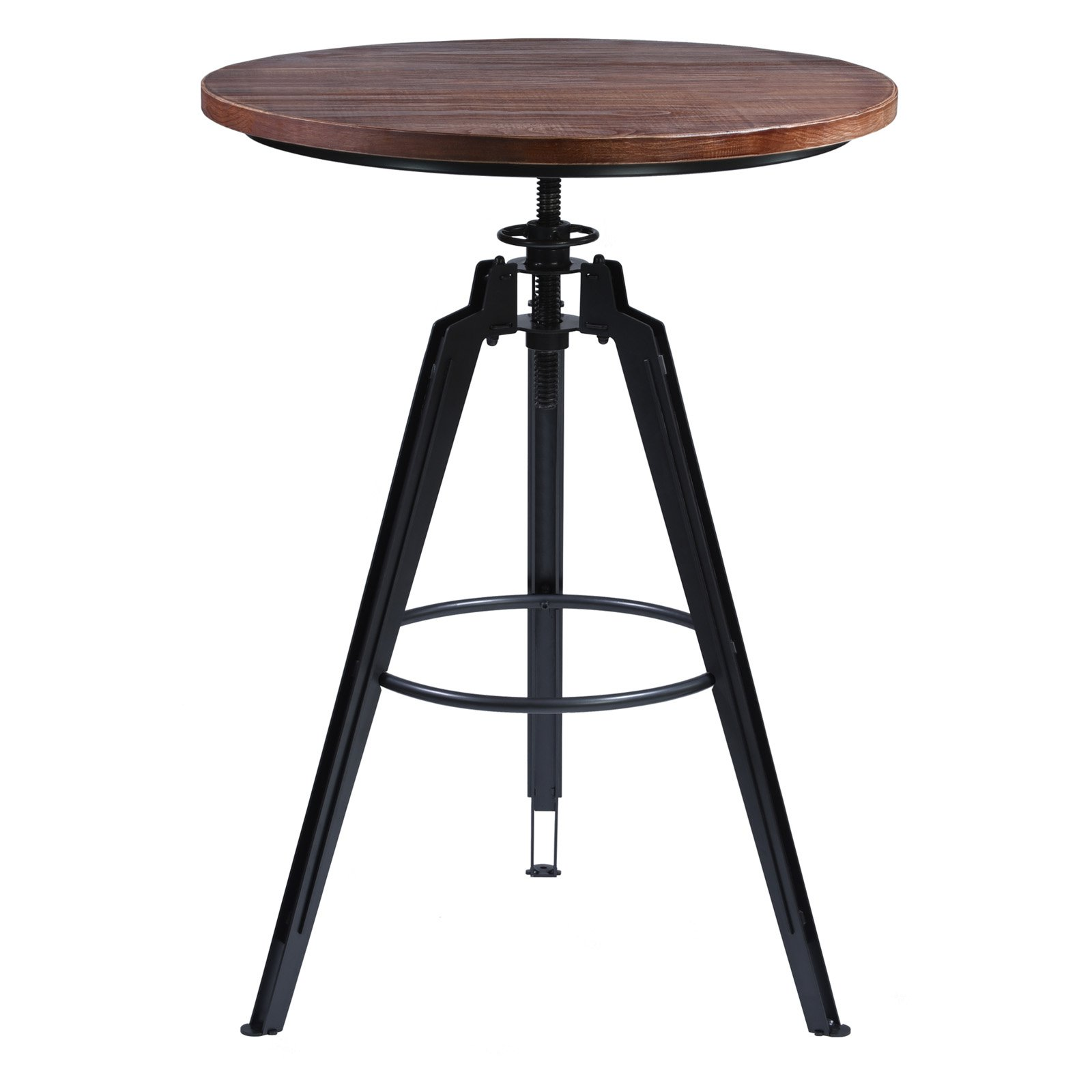 Armen Living Tribeca Pub Table in Industrial Grey Finish with Ash Wood Tabletop by Armen Living
