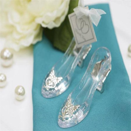 BalsaCircle 12 pcs Silver Cinderella Slippers Favors Holders - Wedding Favor Boxes Party Candy Gifts Packaging Decorations Supplies ()