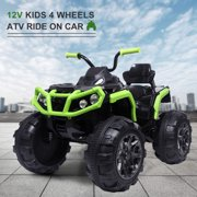 12 Volt Ride ON Toys, Battery Powered Ride ON Toys Car, 4 Wheeler ATV Ride ON Car w/ 3.7mph Max, 2 Speed, LED Lights, AUX Jack, Radio, Electric Motorcycle for Boys, 3-8 Years Old, Green, W1879
