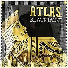 Atlas Blackjack Condoms with Silver Pocket Travel Case, Black Latex Special Occasion Condoms-24 Count