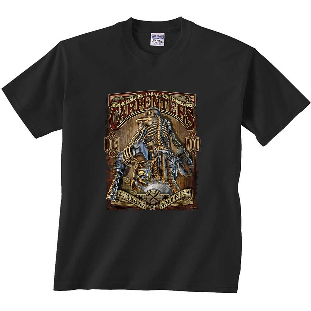 Carpenters Backbone of America T-Shirt Blue Collar Job Craftsman Mens Tee Shirt