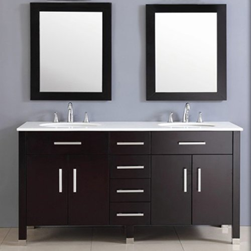 Cambridge Plumbing Plum 72'' Double Bathroom Vanity Set with Mirror