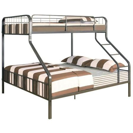 Pemberly Row Twin Xl Over Queen Metal Bunk Bed In Gunmetal