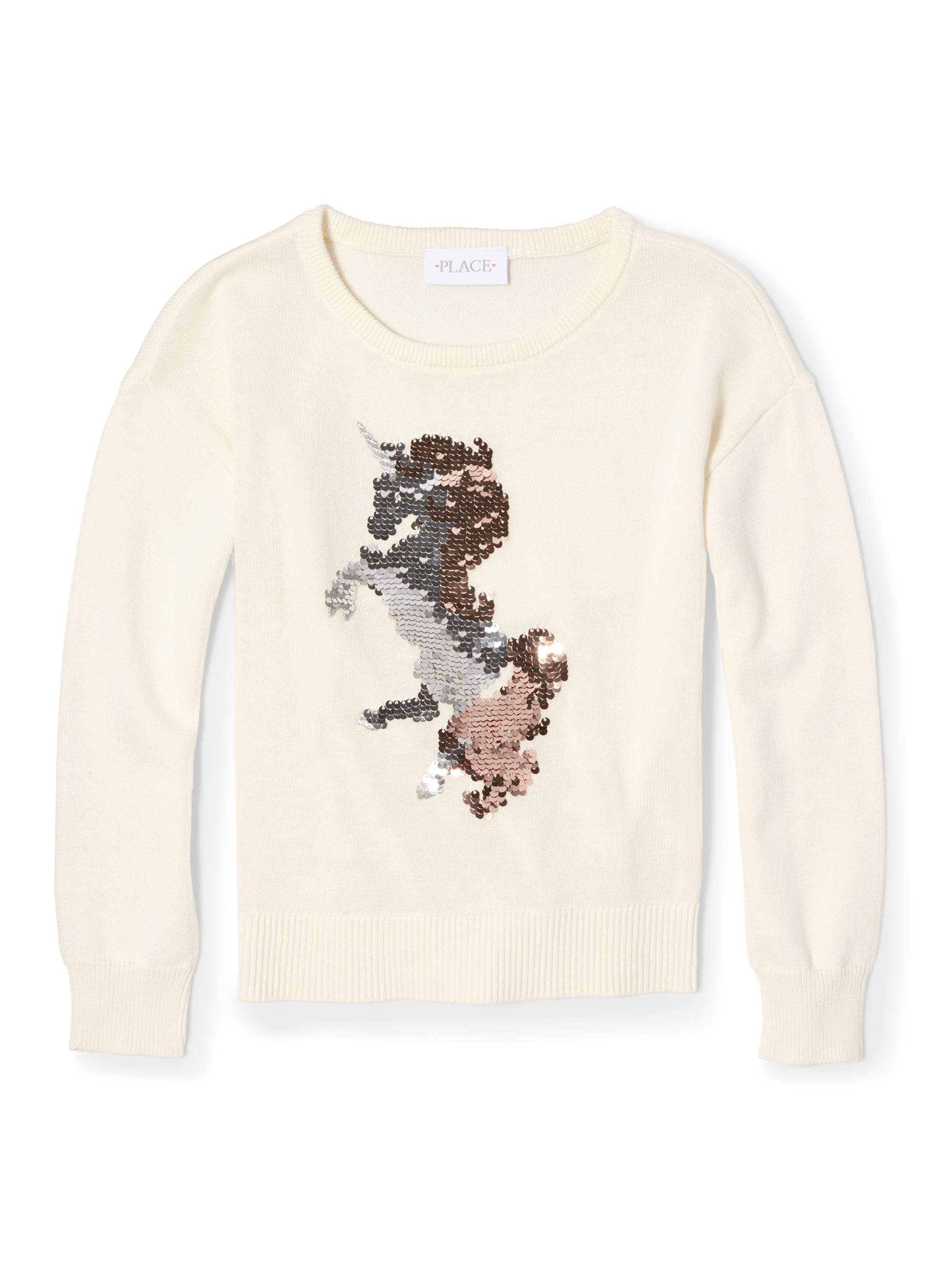 The Children's Place Foil Unicorn Pullover Sweater