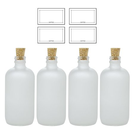 8 oz Frosted Clear Glass Boston Round Bottle with Cork Stopper Closure (4 Pack) + Labels - Bottles With Corks