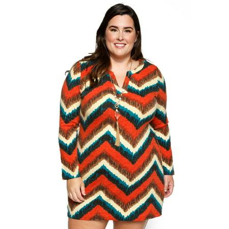 Xehar Women\'s Plus Size Loose Chevron Print Short Mini Shift Dress