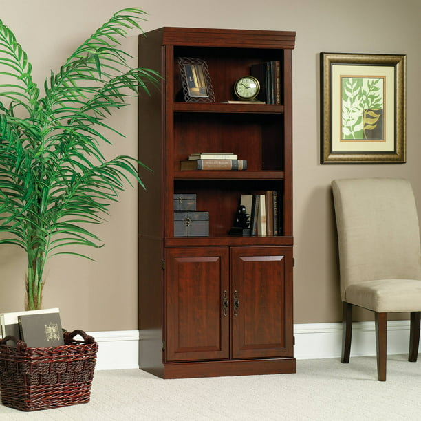 corner shelves walmart decorating bookshelves hutch lowes.htm sauder 71  heritage hill library with doors  classic cherry finish  sauder 71  heritage hill library with
