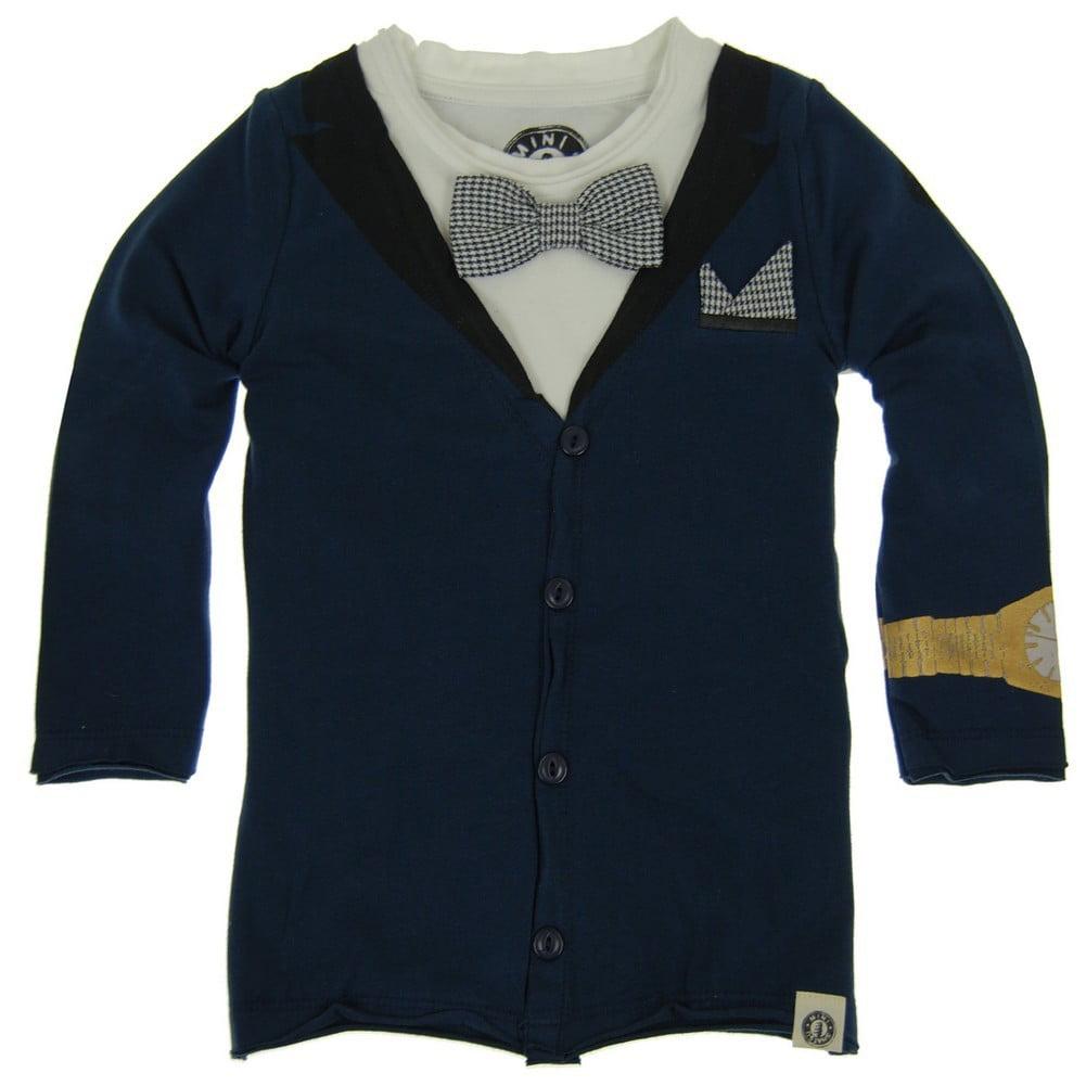 Mini Shatsu Boys Blue Tuxedo Print Chest Pocket Long Slee...