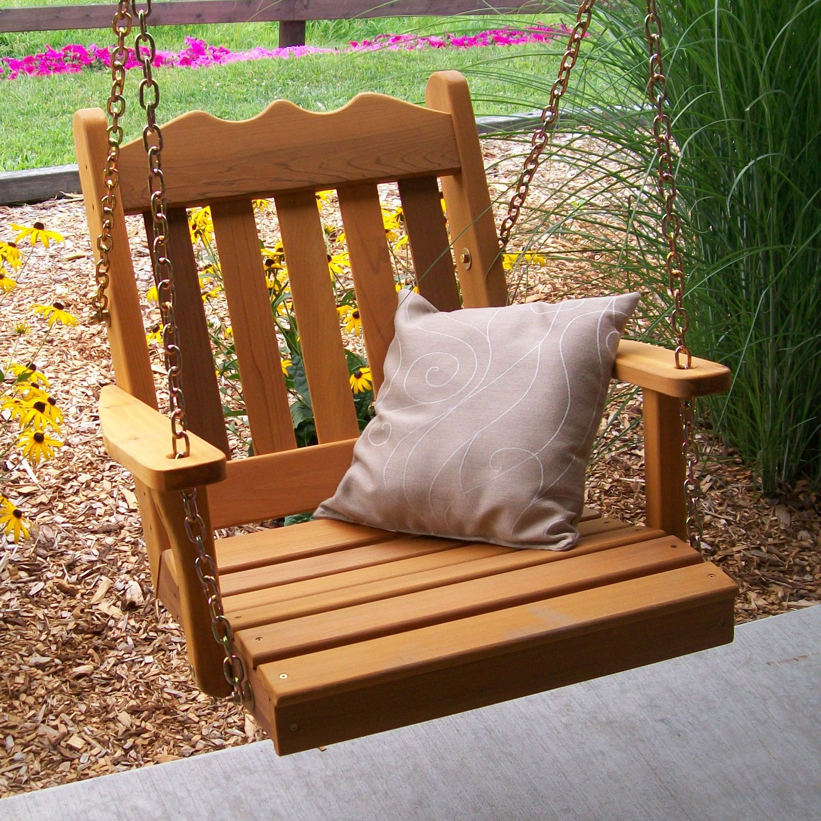 A & L Furniture Western Red Cedar Royal English 2 ft. Chair Swing with Chains