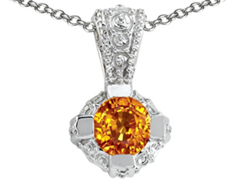 Tommaso Design Round Genuine Citrine Pendant Necklace by