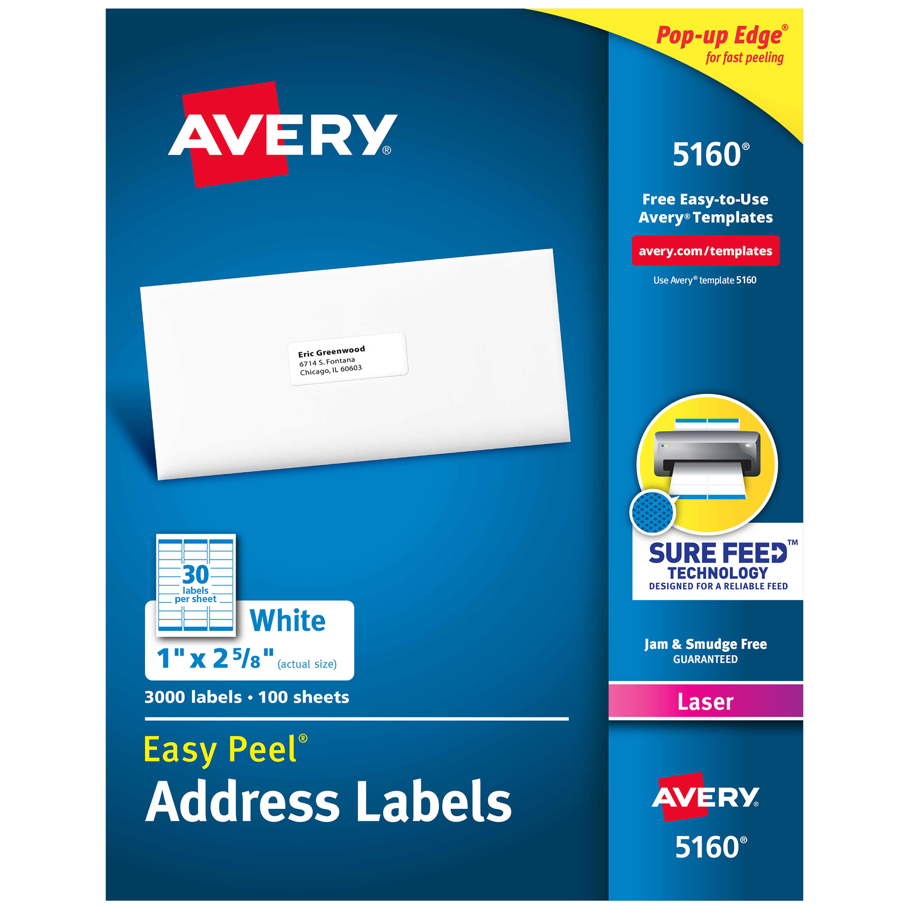 "Avery Easy Peel Address Labels, Sure Feed Technology, Permanent Adhesive, 1"" x 2-5/8"", 3,000 Labels (5160)"