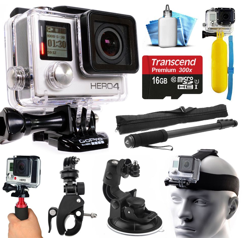 GoPro HERO4 Hero 4 Black Edition 4K Action Camera Camcorder with 16GB MicroSD Card, Selfie Stick, Handlebar Mount, Windshield Suction Cup, Helmet Strap, Floating Bobber, Cleaning Kit (CHDHX-401)