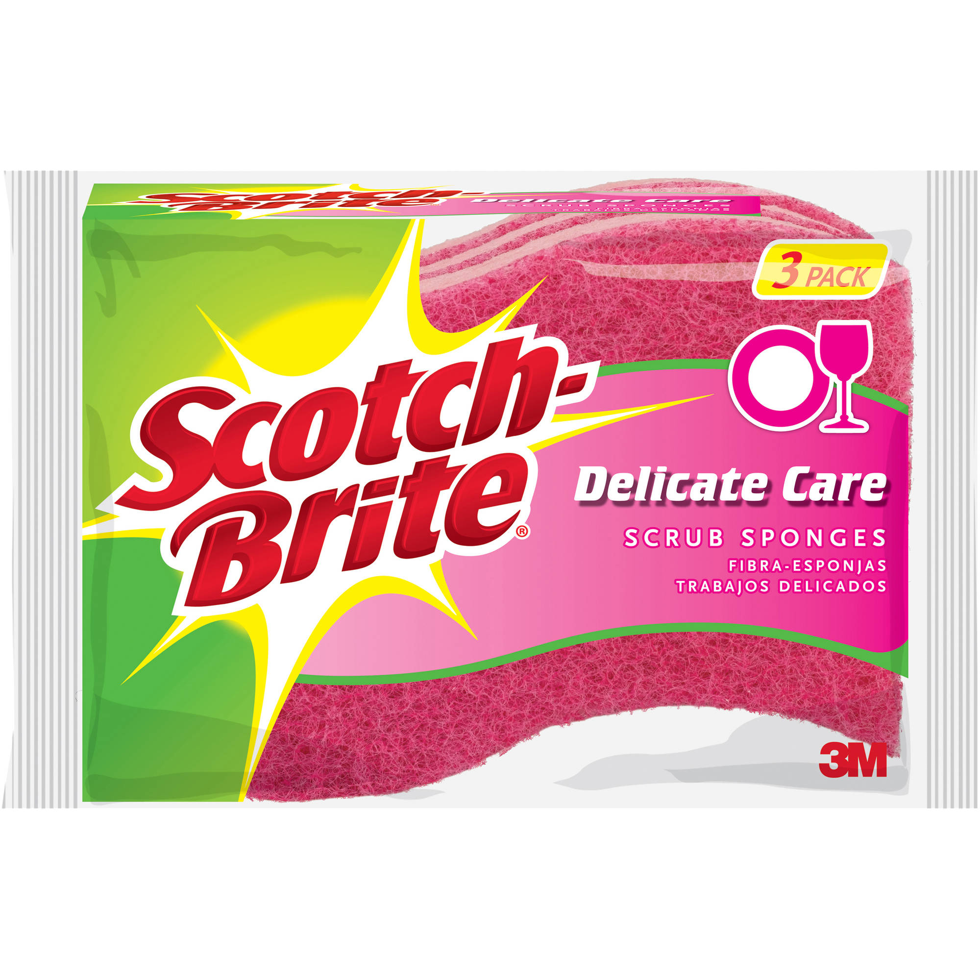 Scotch-Brite Delicate Care Scrub Sponge, 3 count