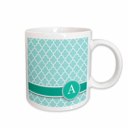 3dRose Personalized letter A aqua blue quatrefoil pattern Teal turquoise mint monogrammed personal initial - Ceramic Mug, (Holiday Personalized Mint Tins)
