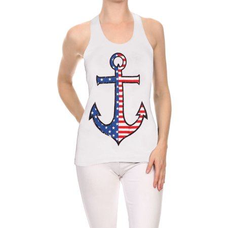 - TJ Clothes American Collection for Women Anchor Flag Racerback Tank Top