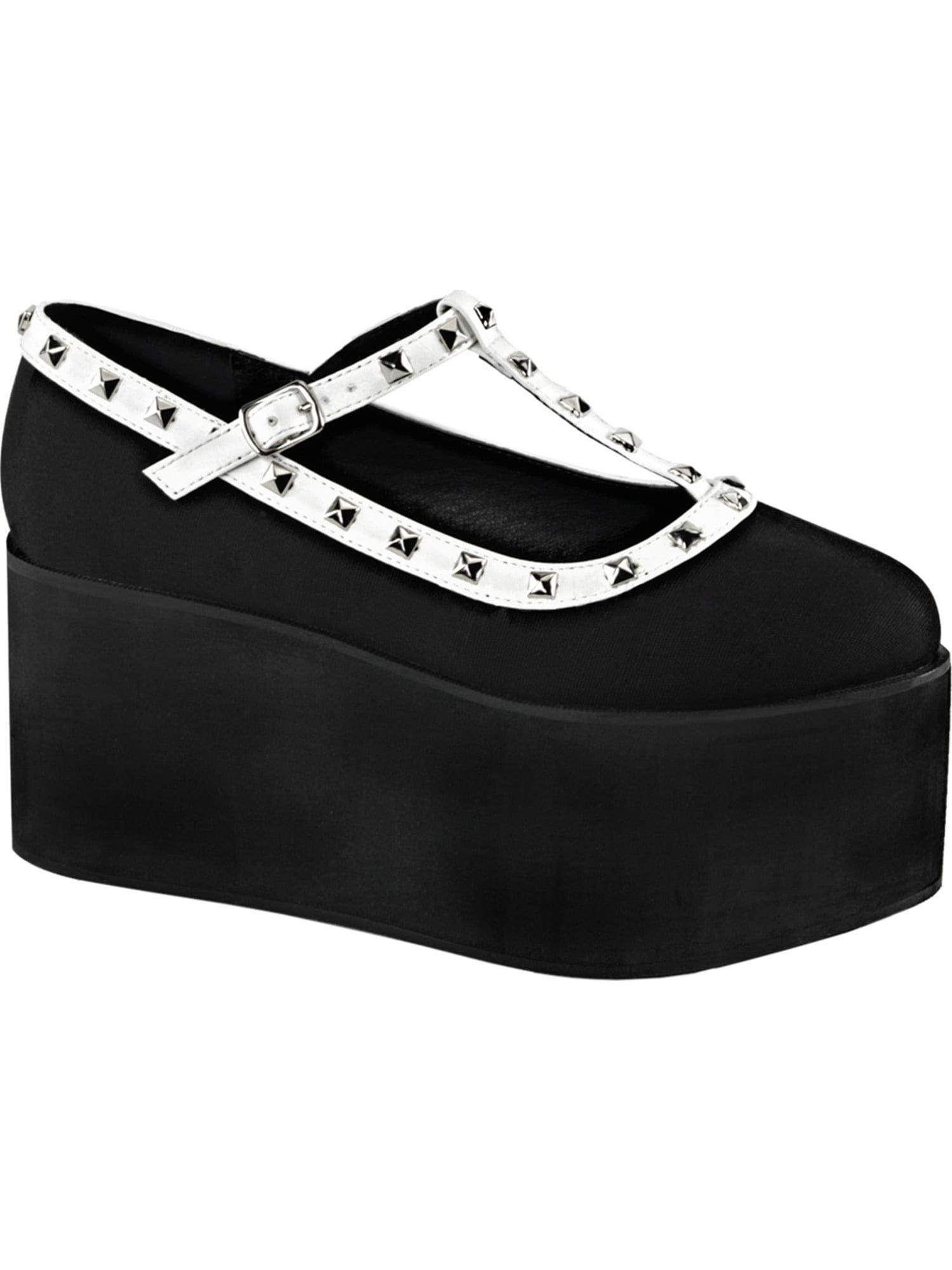 Womens T Strap Shoes Black Canvas White Vegan Leather Studs 3 1/4 Inch Platform