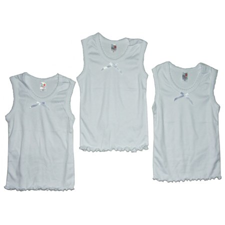 Girl Tile - Girls White Tie Accent Frill Edge 3 Pc Tank Undershirt 3 Pc Tops Set
