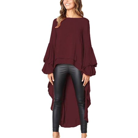 7be6041e9a6d4e JustVH - JustVH Women's Long Puff Sleeve High Low Asymmetrical Irregular  Hem Casual Tops Blouse Shirt Dress - Walmart.com