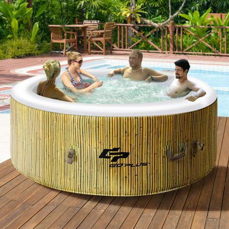 Goplus 4 Person Inflatable Hot Tub Jets Bubble Massage (Leisure Hot Tubs)