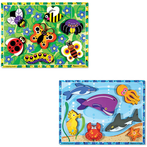 Melissa & Doug Wooden Chunky Puzzles Set Ocean Animals and Insects by Generic