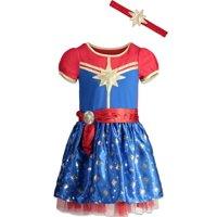 Marvel Captain Marvel Toddler Girls Short Sleeve Costume Dress & Headband 3T