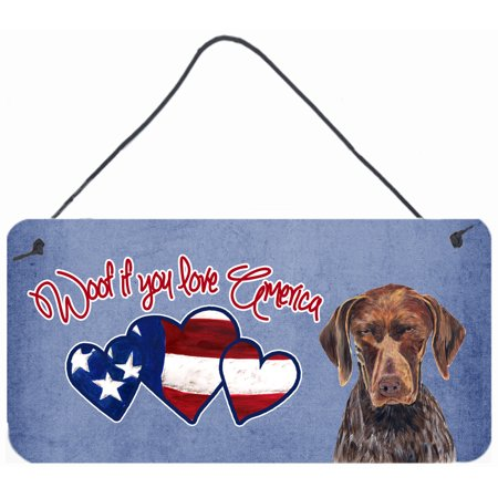 Woof if you love America German Shorthaired Pointer Wall or Door Hanging Prints